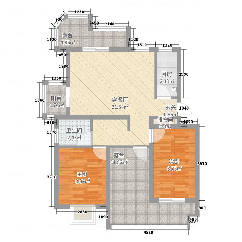 云珠海棠湾21.20㎡J户型2室2厅1卫1厨