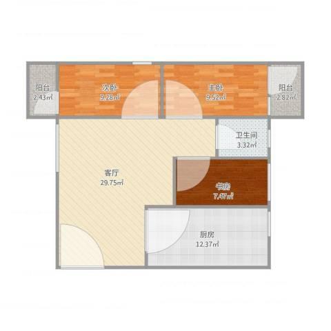 华侨花园3室1厅1卫1厨104.00㎡户型图