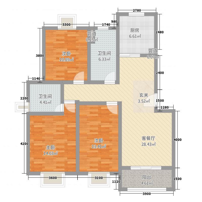 太阳岛花园7548117.00㎡75I户型3室2厅2卫1厨