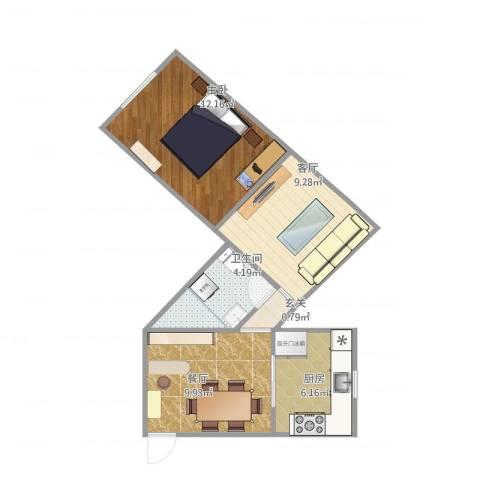 山东路1室2厅1卫1厨58.00㎡户型图