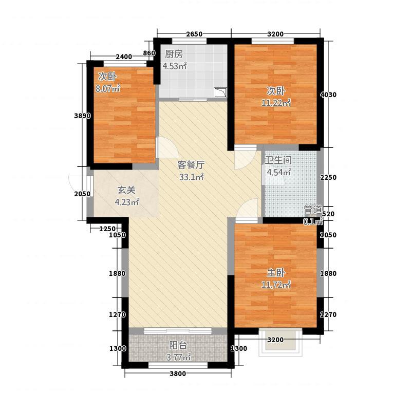 宝湖锦都131.20㎡A1户型3室2厅1卫1厨