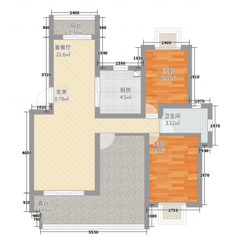 云珠海棠湾2.20㎡I户型2室2厅1卫1厨