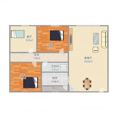 昌发楼2室2厅1卫1厨115.00㎡户型图
