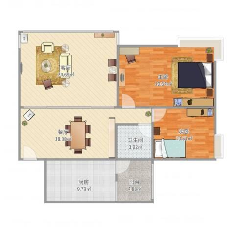 园林熙郡2室2厅1卫1厨122.00㎡户型图