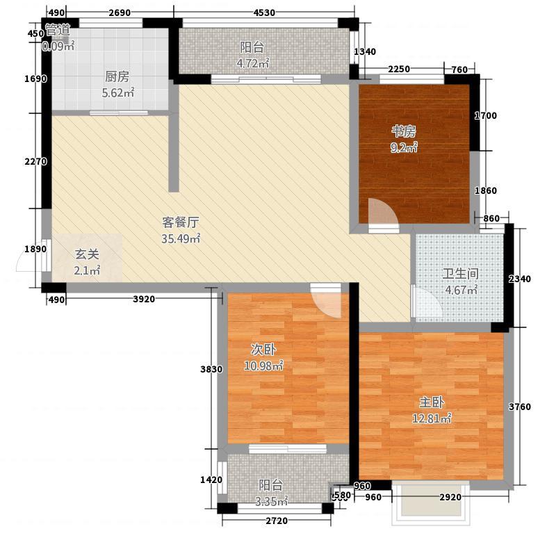 企业家苑13124.62㎡1-C户型3室2厅1卫1厨