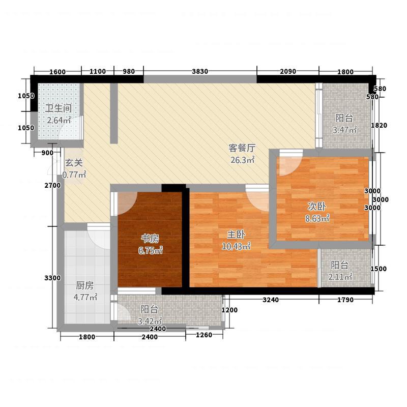 瑞鼎城132.12㎡D1户型3室2厅1卫1厨