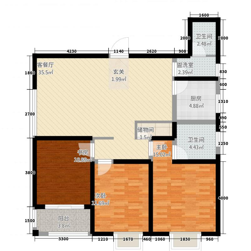贰号大院53136.67㎡C5户型3室2厅2卫1厨