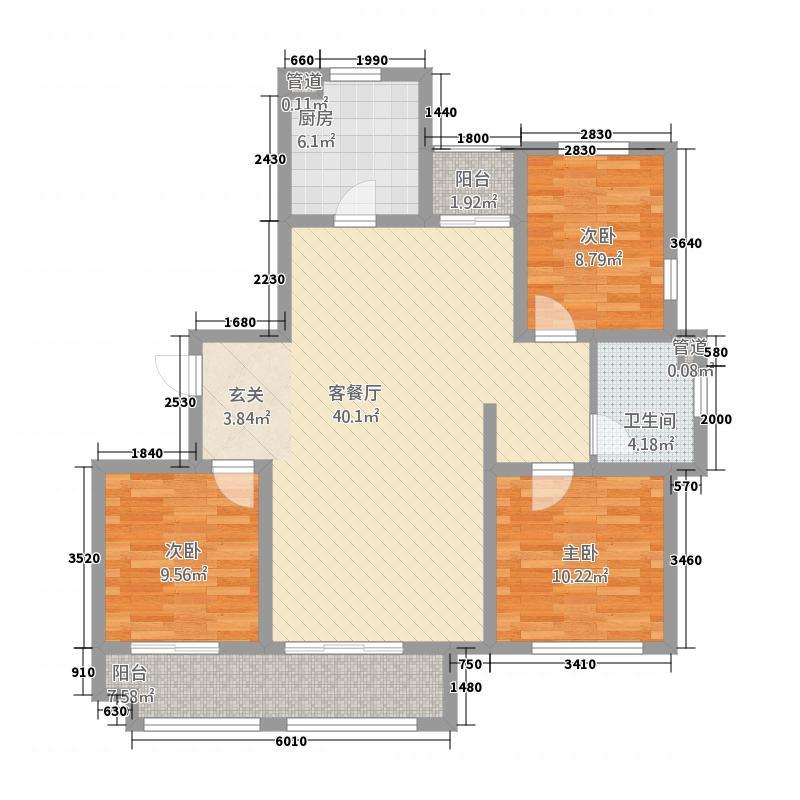 浮来春花园128.20㎡高层H户型3室2厅1卫1厨
