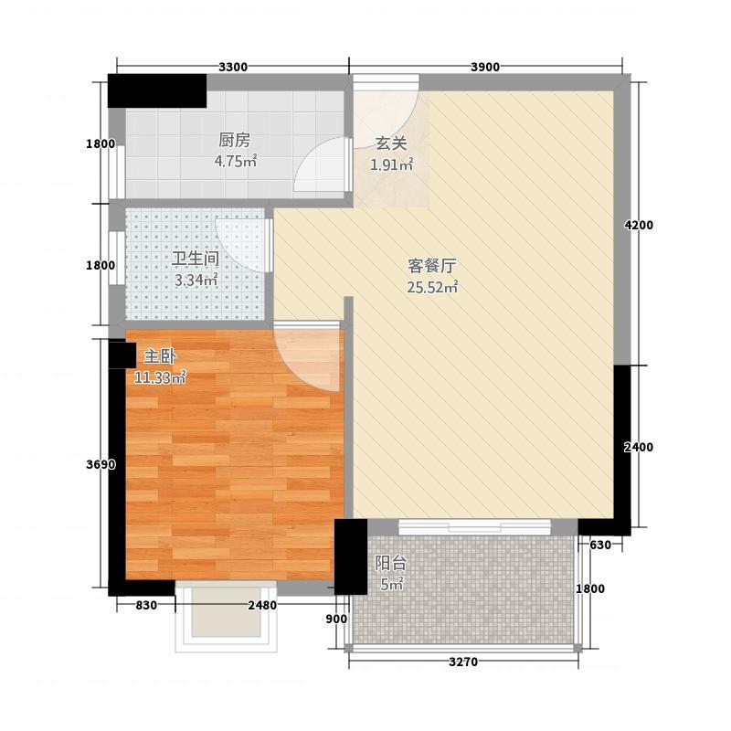 广隆海尚首府587.20㎡5#楼8#楼D户型1室2厅1卫1厨