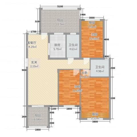 江南春城・四期3室1厅2卫1厨353127.00㎡户型图