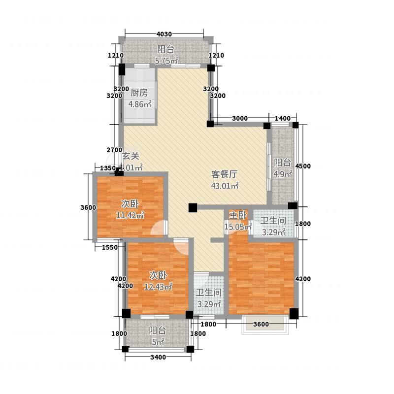 阳光名邸5136.55㎡5号楼A户型3室2厅2卫