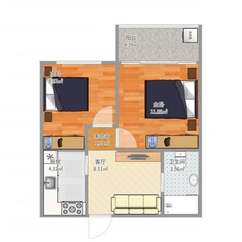运光新村2室1厅1卫1厨56.00㎡户型图