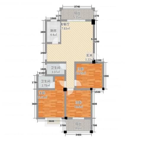 阳光名邸3室1厅2卫1厨511.00㎡户型图