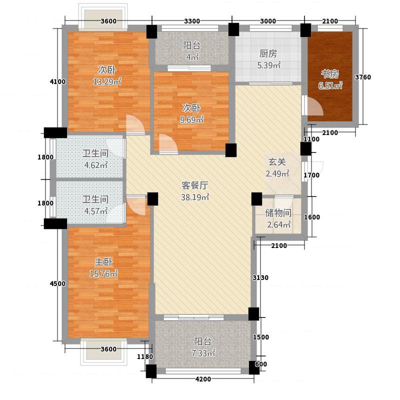 阳光名邸135137.52㎡1、3、5号楼A户型4室2厅2卫1厨
