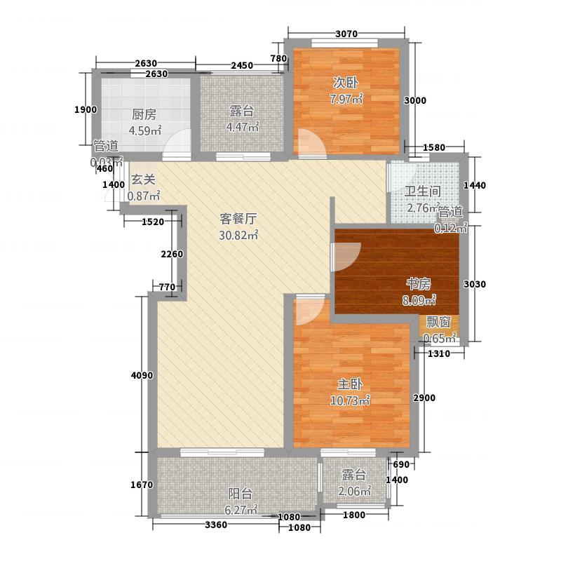 万孚尊园32112.20㎡C型户户型3室2厅1卫1厨