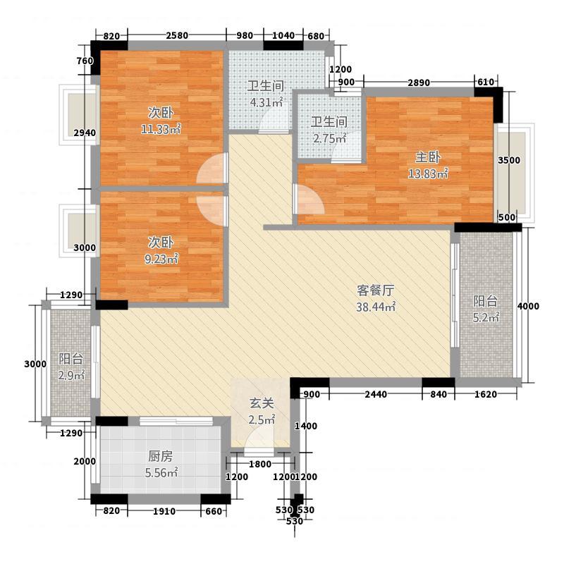 津华苑131123.42㎡一期01栋3-19层C户型3室2厅2卫1厨