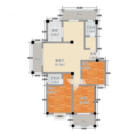 阳光名邸3室1厅2卫1厨5137.00㎡户型图