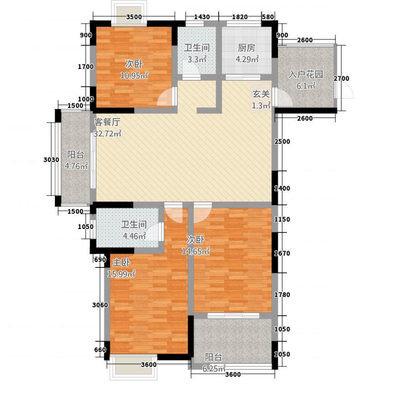 长虹花园23134.55㎡C2户型3室2厅2卫1厨