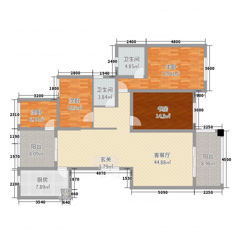 虹桥国际4166.13㎡户型4室2厅2卫1厨