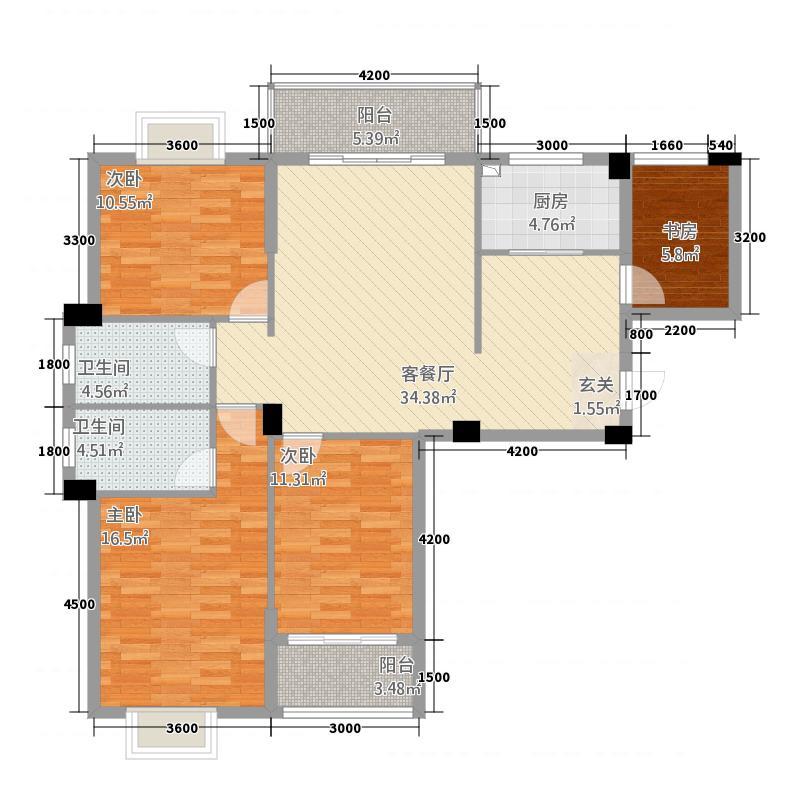 阳光名邸35127.55㎡3、5号楼F户型4室2厅2卫1厨