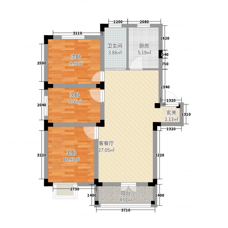 天河湾132.20㎡C1户型3室2厅1卫1厨