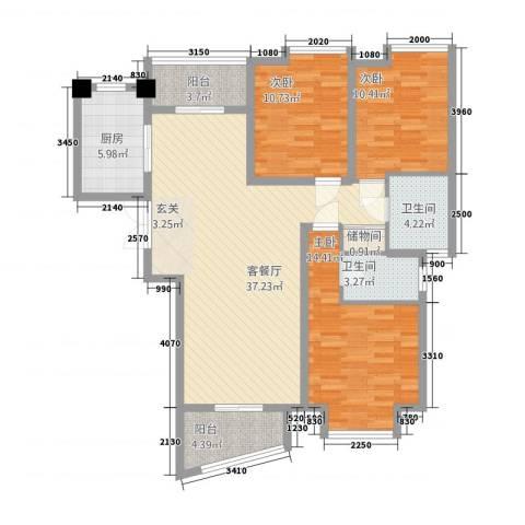 中创泰和苑3室1厅2卫1厨137.00㎡户型图