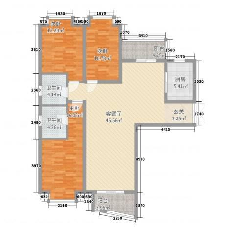 中创泰和苑3室1厅2卫1厨153.00㎡户型图