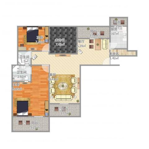 天都首郡2室1厅2卫1厨111.00㎡户型图