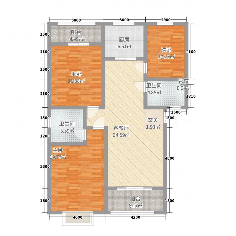 新汶东方商城1.20㎡A户型3室2厅2卫1厨