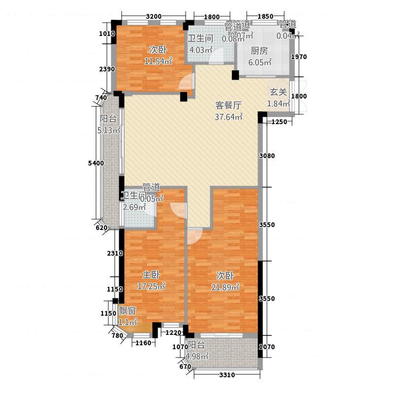 江山御墅132132.20㎡B户型3室2厅2卫