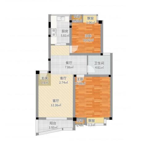 叠翠江南 江南星城2室1厅1卫1厨101.00㎡户型图