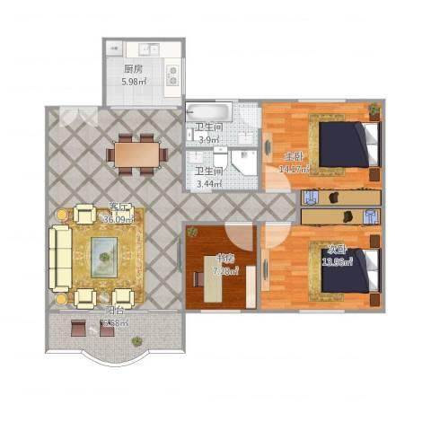 龙福花园3室1厅2卫1厨123.00㎡户型图
