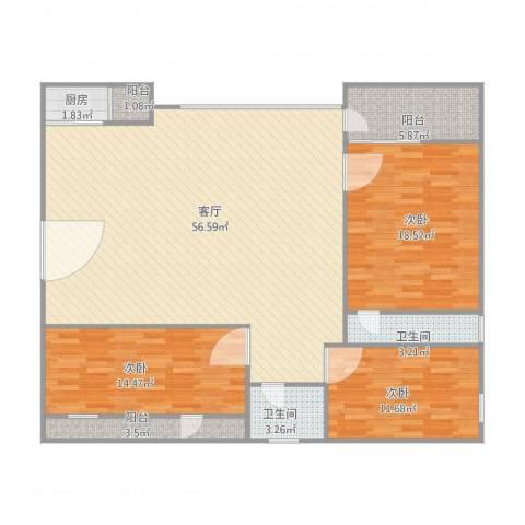 名苑华庭3室1厅2卫1厨160.00㎡户型图