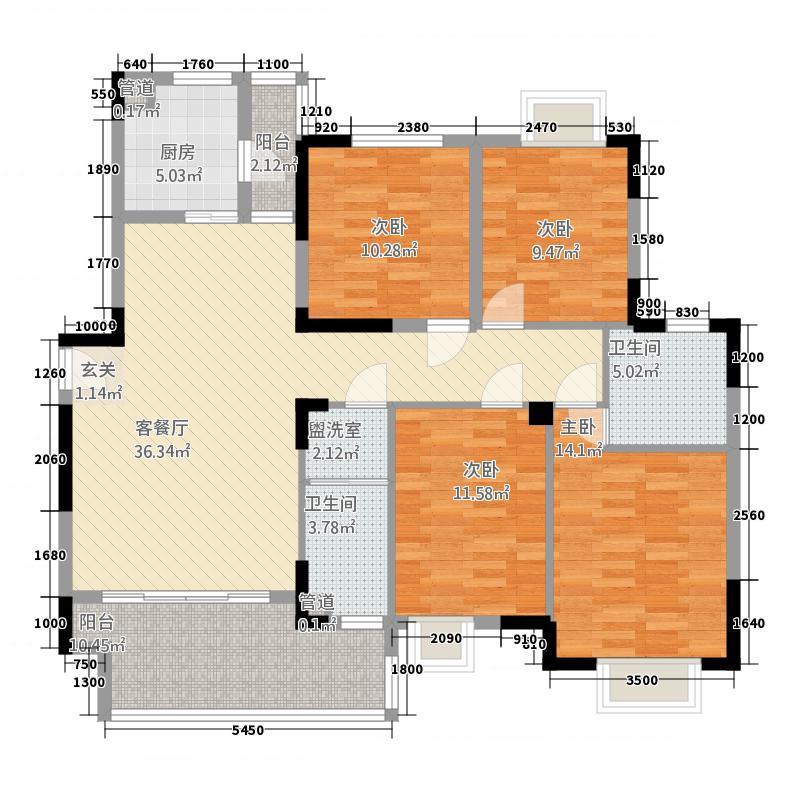 鼎卫豪苑5#A2户型4室2厅2卫