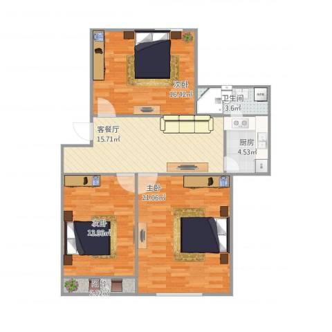 唐园3室1厅1卫1厨104.00㎡户型图