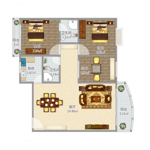 东方巴黎广场3室1厅2卫1厨76.00㎡户型图