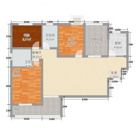 金域城邦3室1厅2卫1厨3212.00㎡户型图
