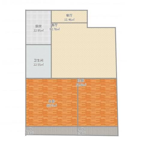 金马腾宏园2室2厅1卫1厨373.00㎡户型图