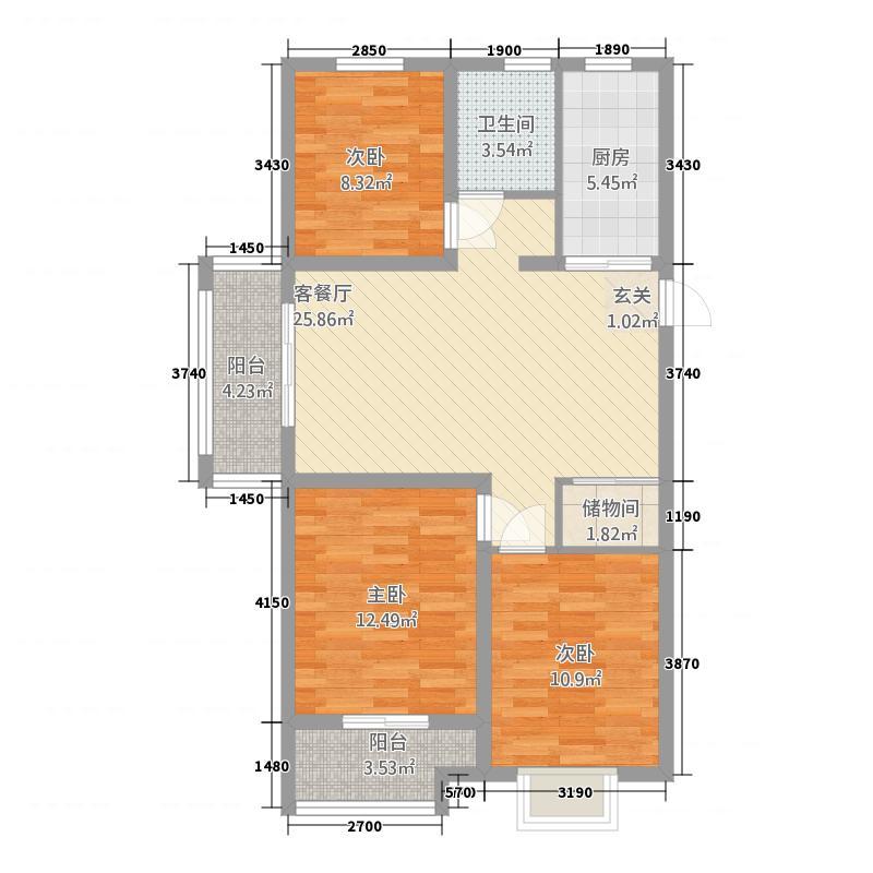 熙园32111.20㎡户型3室2厅1卫1厨