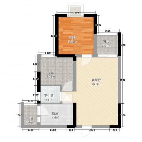 綦江金域蓝湾1室1厅1卫1厨56.00㎡户型图
