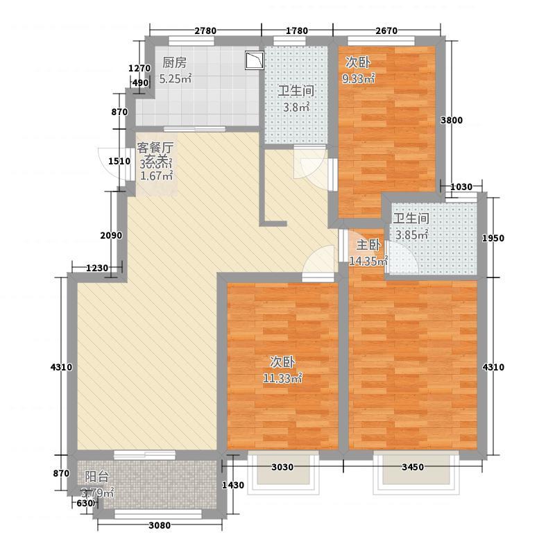 熙园32211.20㎡户型3室2厅2卫1厨