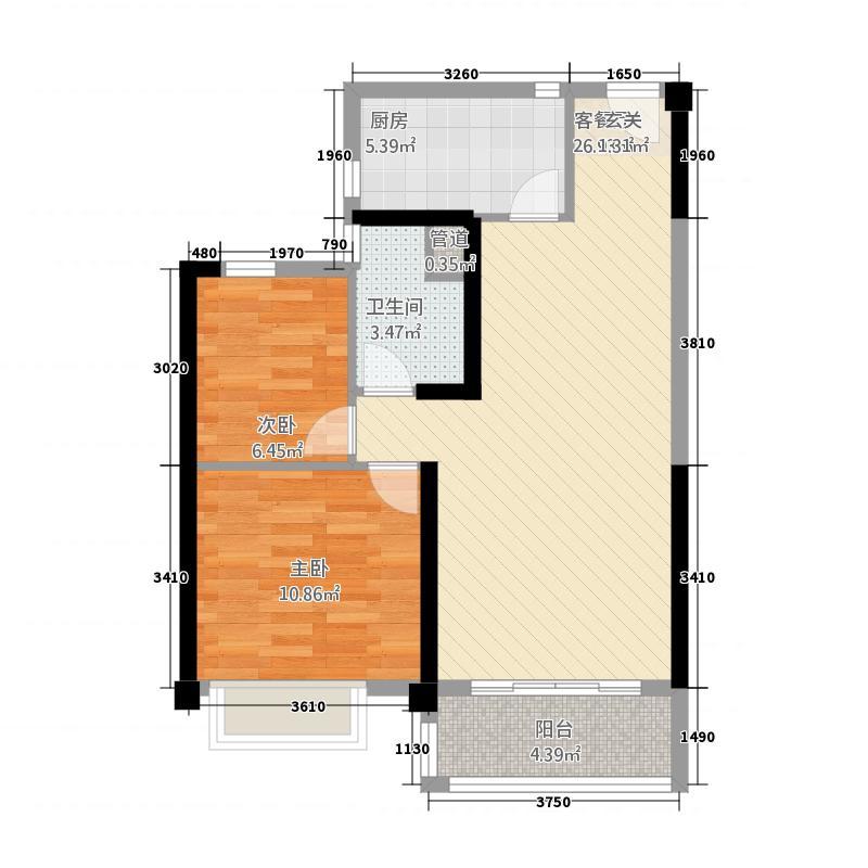 郑州碧桂园883.20㎡洋房YJ80-B户型2室2厅1卫1厨