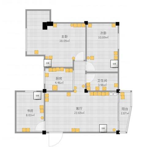 南雅苑3室1厅1卫1厨98.00㎡户型图