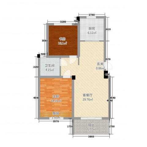 锦绣江南2室1厅1卫1厨4888.00㎡户型图