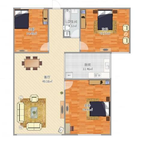 月亮湾3室1厅1卫1厨165.00㎡户型图