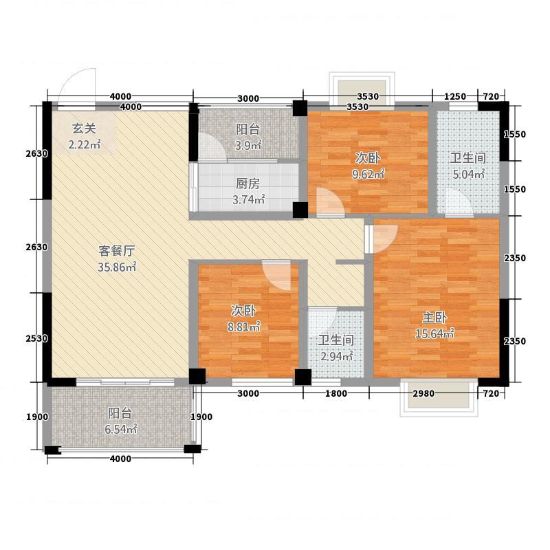 万景山水城117.32㎡B/E户型3室2厅2卫