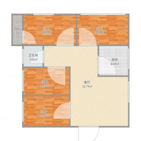 华侨花园4室1厅1卫1厨119.00㎡户型图