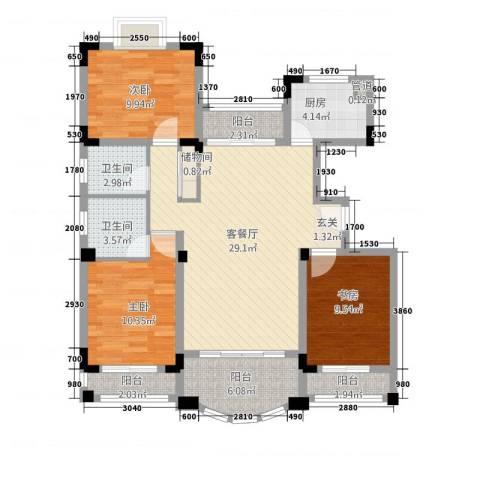 南太武高尔夫澎湖湾3室1厅2卫1厨122.00㎡户型图