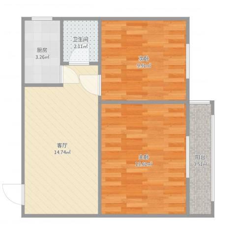 蒲安西里2室1厅1卫1厨64.00㎡户型图