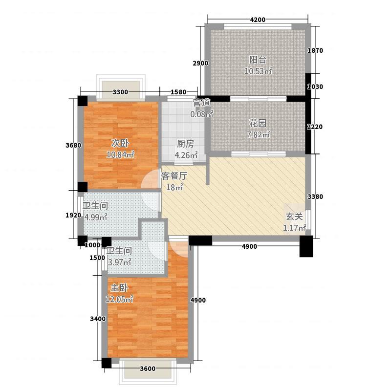 港昌新苏格兰4587.20㎡4、5、8#A7户型2室1厅2卫1厨